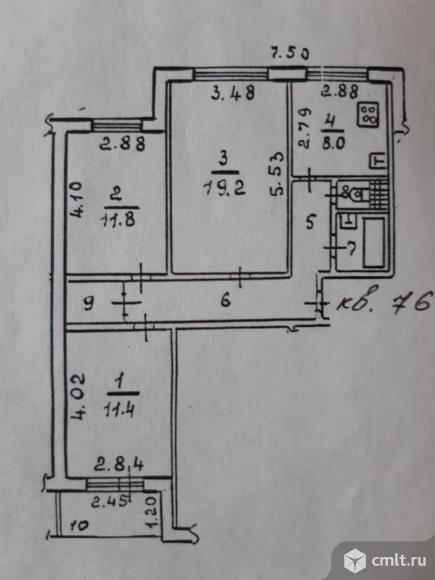 3-комнатная квартира 69 кв.м. Фото 6.