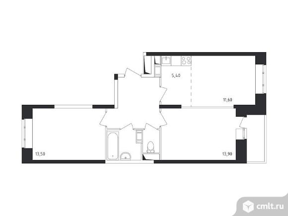 3-комнатная квартира 59,1 кв.м. Фото 1.