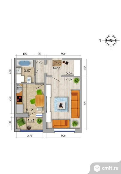 1-комнатная квартира 39,09 кв.м. Фото 1.