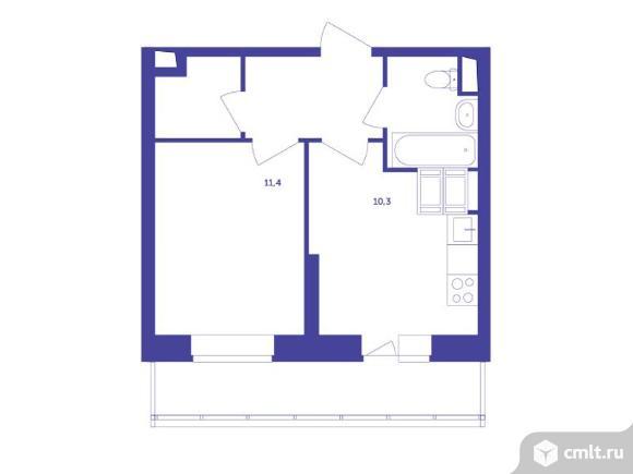 1-комнатная квартира 34,3 кв.м. Фото 1.