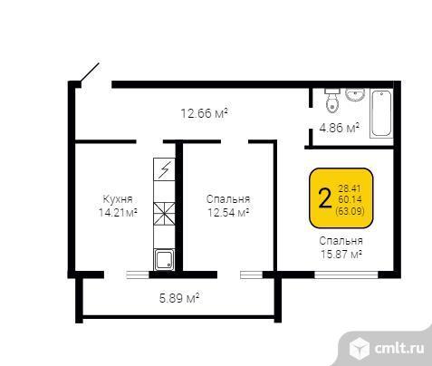 2-комнатная квартира 63,09 кв.м. Фото 6.