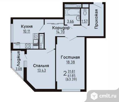 2-комнатная квартира 63,39 кв.м. Фото 2.