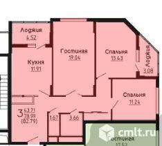3-комнатная квартира 82,79 кв.м. Фото 2.