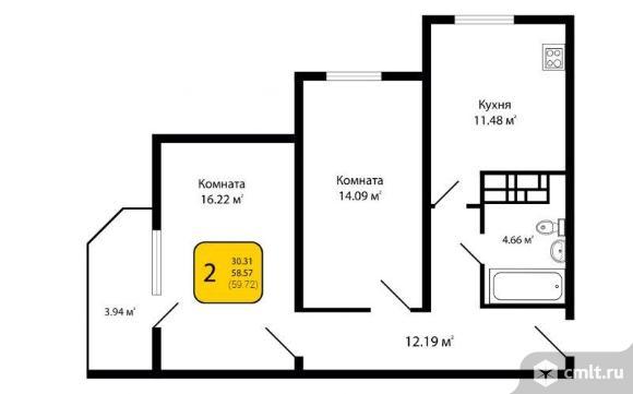 2-комнатная квартира 59,72 кв.м. Фото 3.