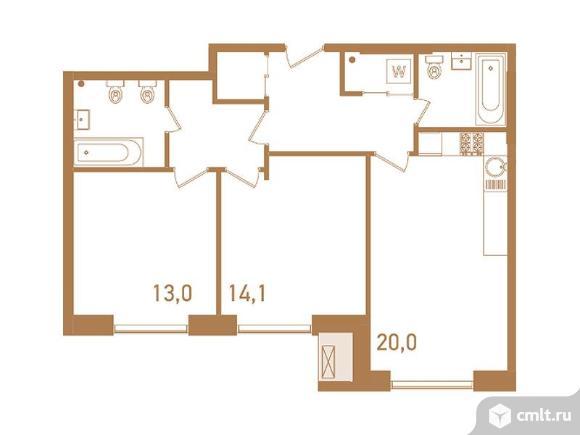 3-комнатная квартира 75,6 кв.м. Фото 1.