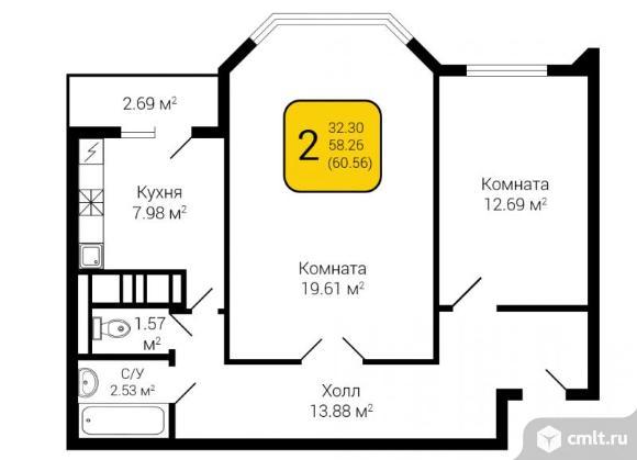 2-комнатная квартира 60,56 кв.м. Фото 2.