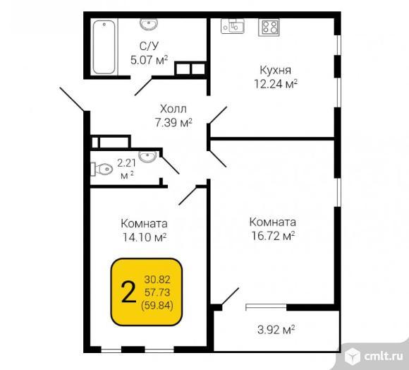 2-комнатная квартира 59 кв.м. Фото 2.