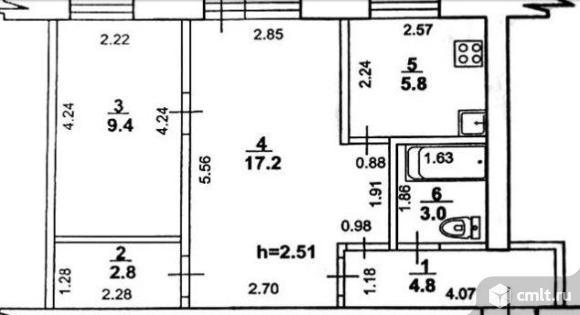2-комнатная квартира 46 кв.м. Фото 10.