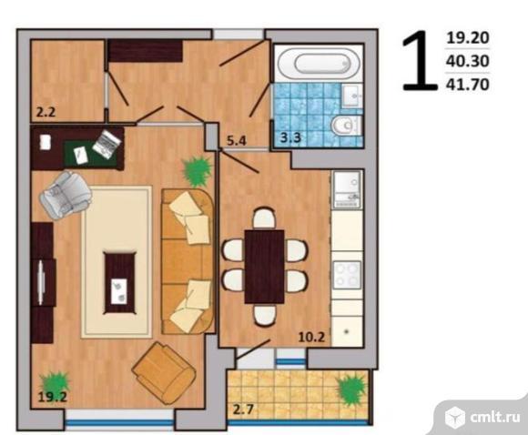 1-комнатная квартира 41,7 кв.м. Фото 7.