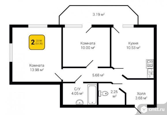 2-комнатная квартира 53,36 кв.м. Фото 1.