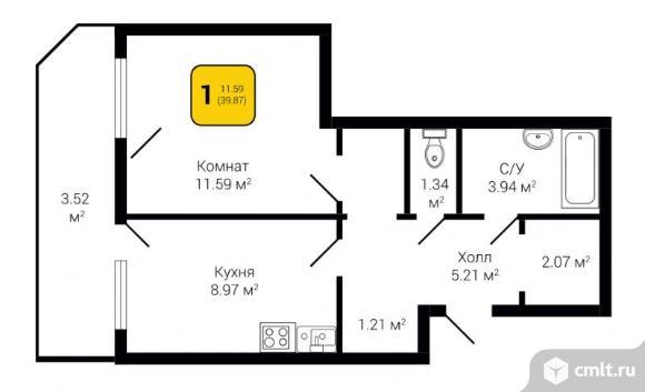 1-комнатная квартира 39,87 кв.м. Фото 1.