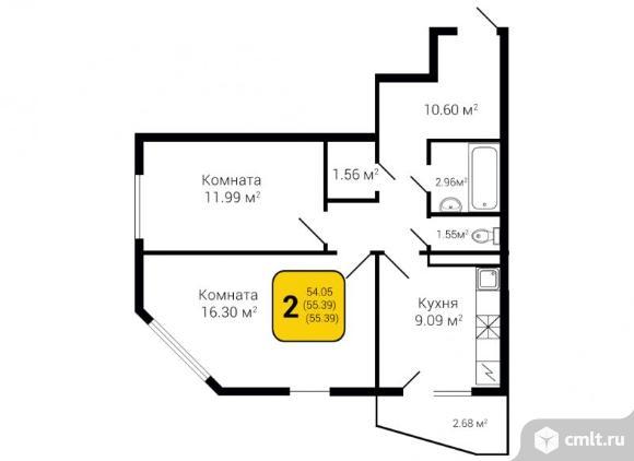 2-комнатная квартира 55,39 кв.м. Фото 3.