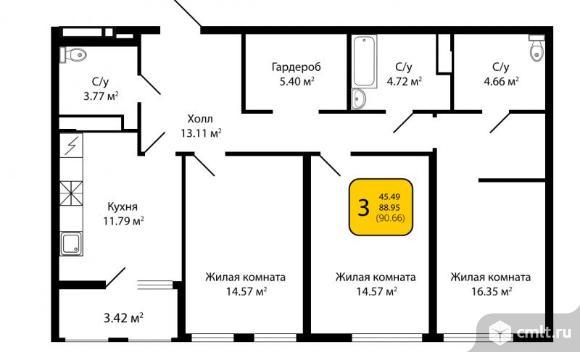 3-комнатная квартира 90,66 кв.м. Фото 4.