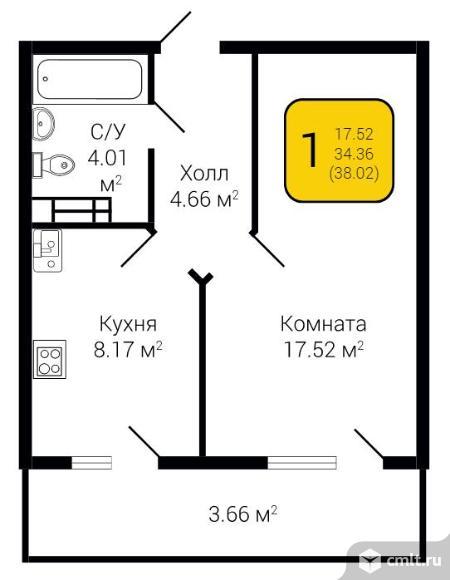 1-комнатная квартира 38,02 кв.м. Фото 15.