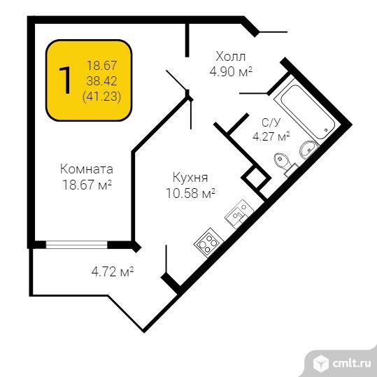 1-комнатная квартира 41,23 кв.м. Фото 1.