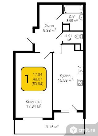 1-комнатная квартира 53 кв.м. Фото 1.