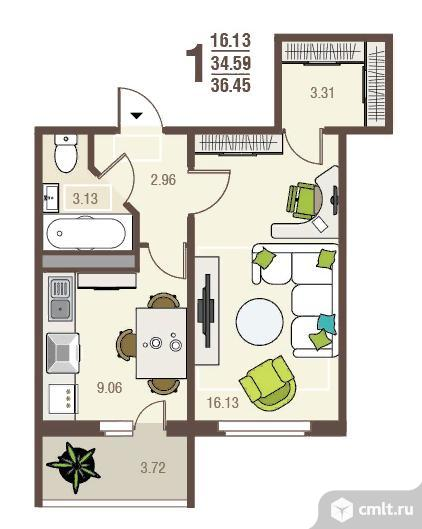 1-комнатная квартира 36,45 кв.м. Фото 1.