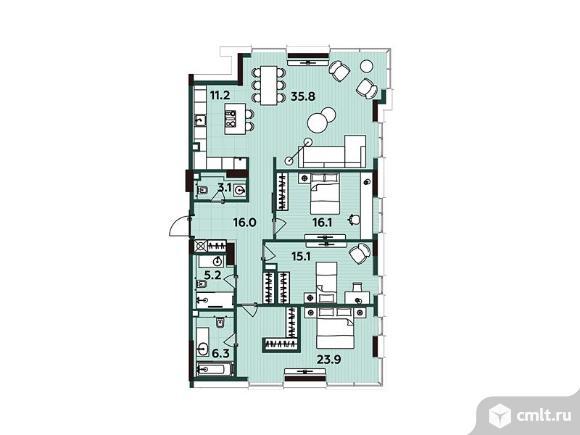 4-комнатная квартира 132,7 кв.м. Фото 1.