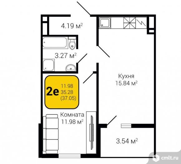 2-комнатная квартира 37,05 кв.м. Фото 3.