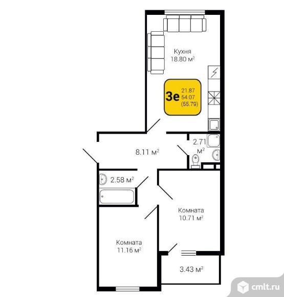 3-комнатная квартира 55,79 кв.м. Фото 3.