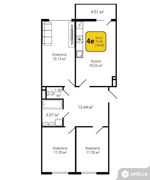 4-комнатная квартира 78,95 кв.м. Фото 3.