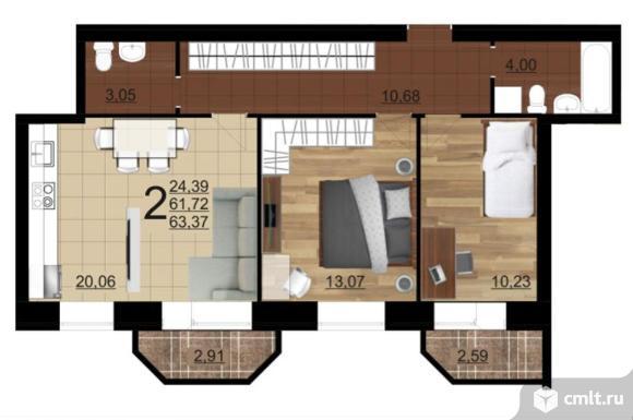 2-комнатная квартира 63,37 кв.м. Фото 3.