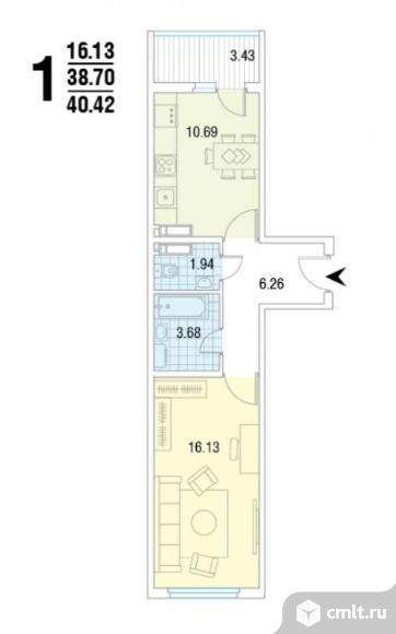 2-комнатная квартира 40 кв.м. Фото 4.