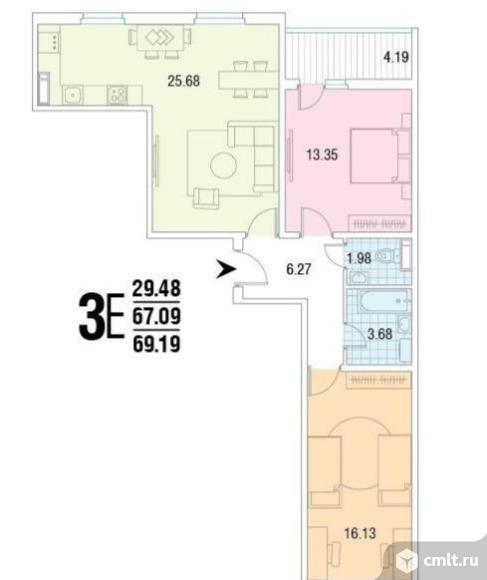 2-комнатная квартира 69,2 кв.м. Фото 4.