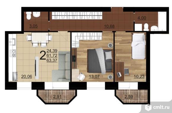 2-комнатная квартира 63,37 кв.м. Фото 5.