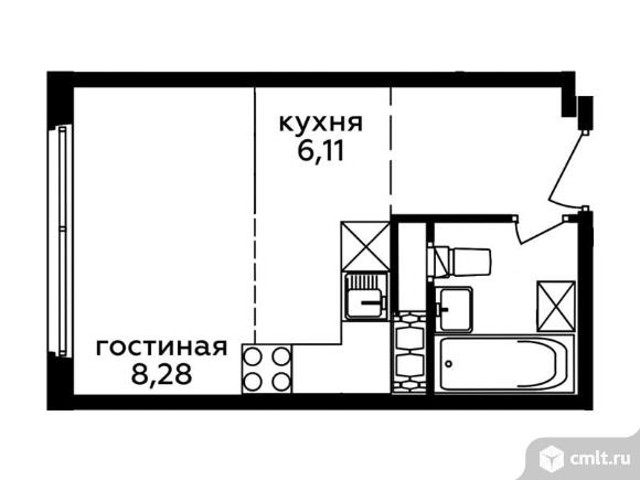 1-комнатная квартира 21,62 кв.м. Фото 1.