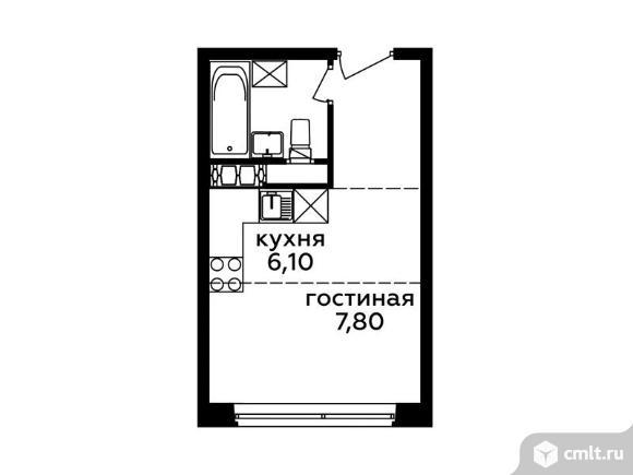 1-комнатная квартира 20,97 кв.м. Фото 1.