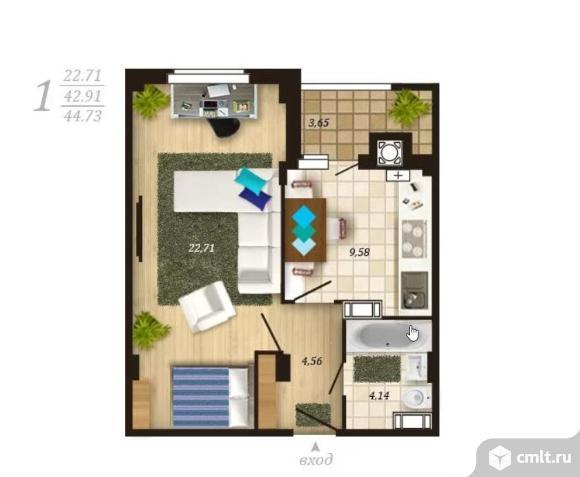 1-комнатная квартира 43,1 кв.м. Фото 1.