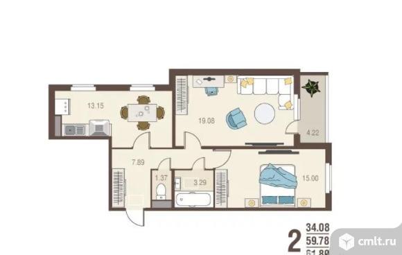 2-комнатная квартира 61,9 кв.м. Фото 2.