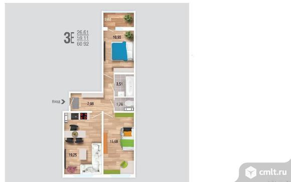 3-комнатная квартира 60,9 кв.м. Фото 2.