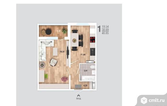 1-комнатная квартира 40,9 кв.м. Фото 2.