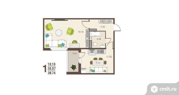 1-комнатная квартира 39,7 кв.м. Фото 2.