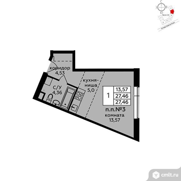 1-комнатная квартира 27,46 кв.м. Фото 1.