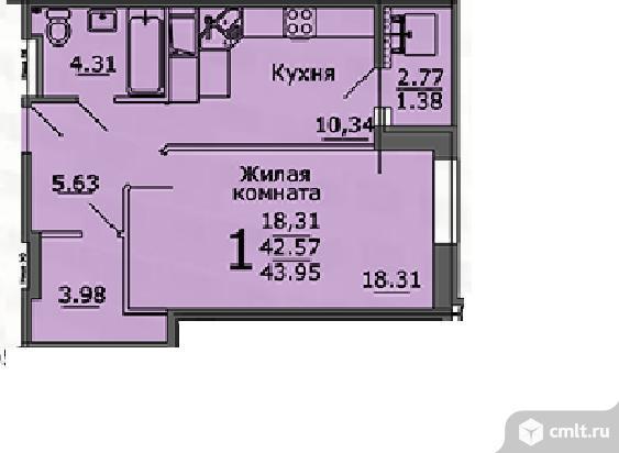 1-комнатная квартира 44 кв.м. Фото 12.
