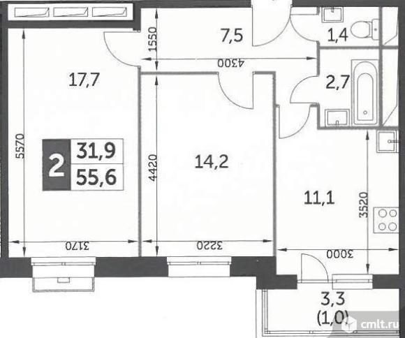 Продается 2-комн. квартира 55.6 м2. Фото 7.
