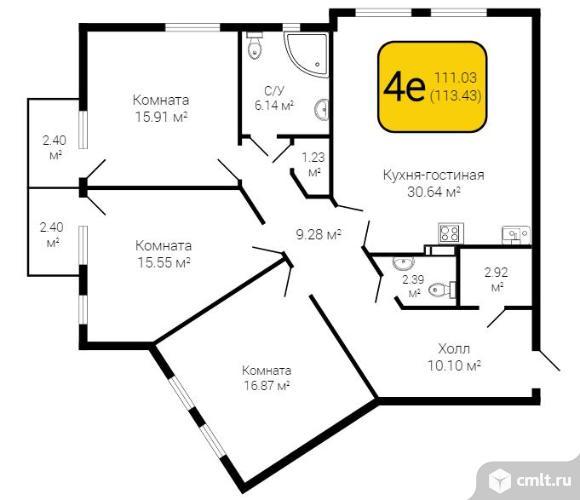 3-комнатная квартира 113,43 кв.м. Фото 1.