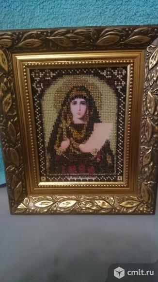 Именная икона из бисера св. муч. Анастасия. Фото 1.