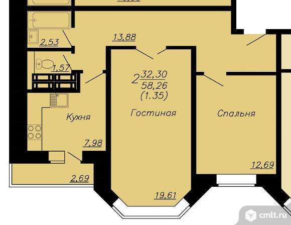 1-комнатная квартира 59,05 кв.м. Фото 1.