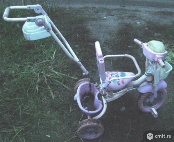 Велосипед детский 3-х колесный санки. Фото 1.