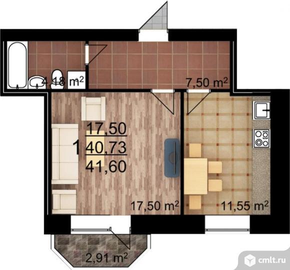 1-комнатная квартира 41,6 кв.м. Фото 1.
