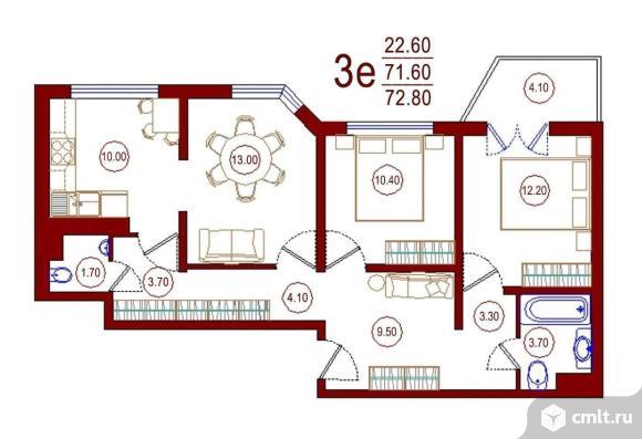 2-комнатная квартира 72,8 кв.м. Фото 1.