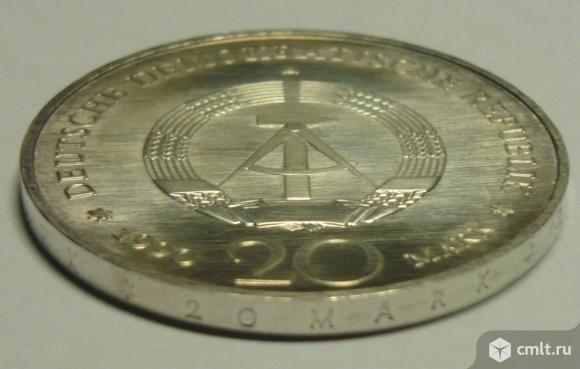 ГДР 20 марок 1990г. серебро.. Фото 3.