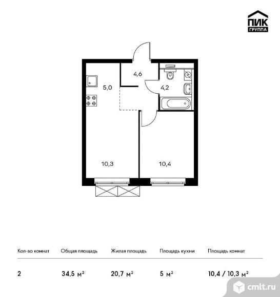 2-комнатная квартира 34,5 кв.м. Фото 1.