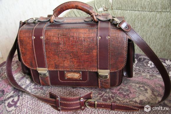 Портфель кожаный ручной работы. Фото 1.