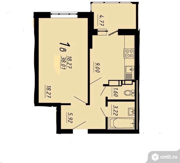 1-комнатная квартира 41,5 кв.м. Фото 5.
