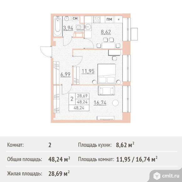 2-комнатная квартира 48,24 кв.м. Фото 1.
